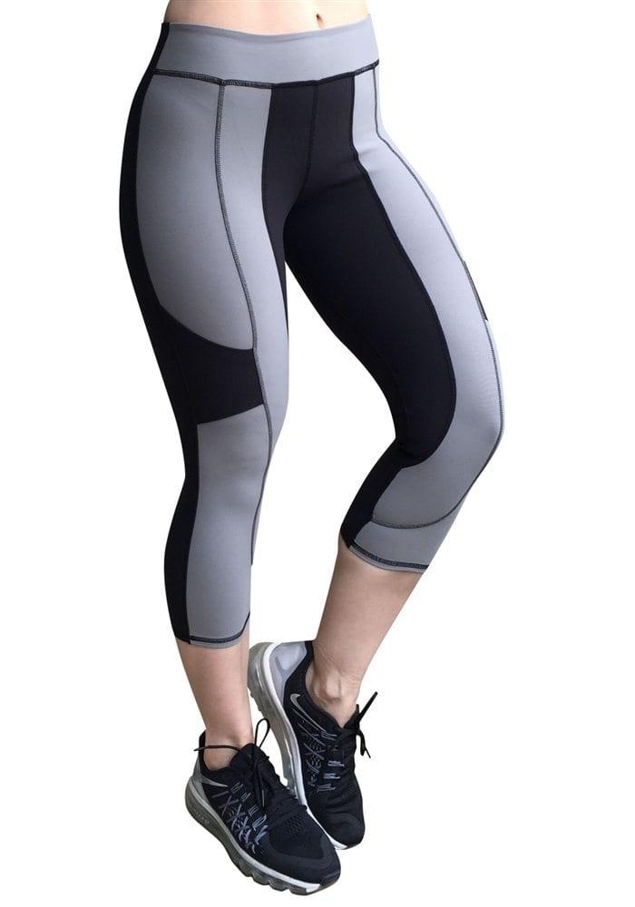Nina B.Roze 2 Tone Hidden Pocket Gray- Sexy Yoga Capris