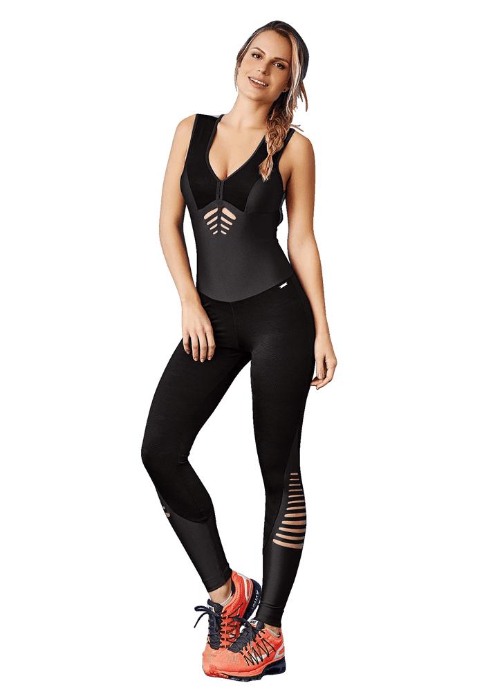 CAJUBRASIL 7578 Sexy Workout Romper Jumpsuit Laser Black