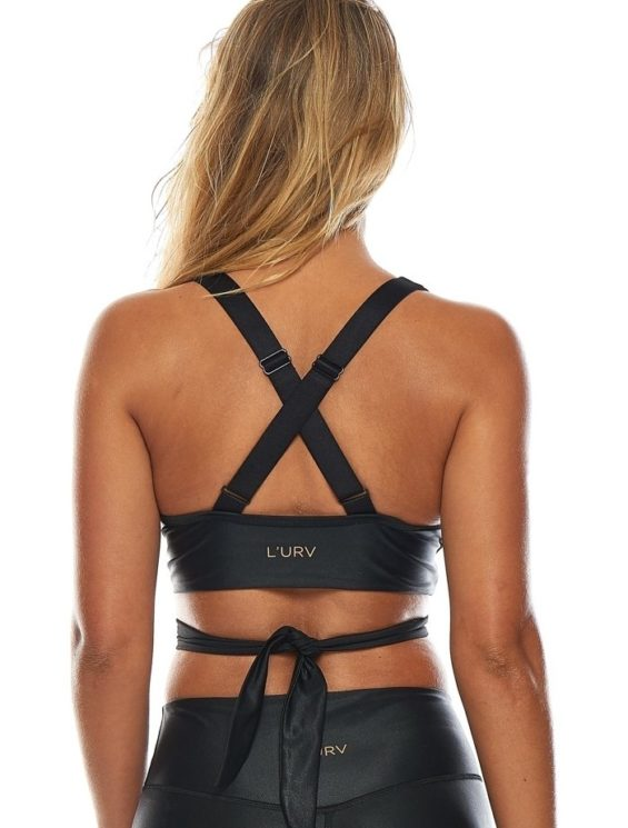 L'URV Crop The Shimmers Wrap Top Black Sexy Workout Top