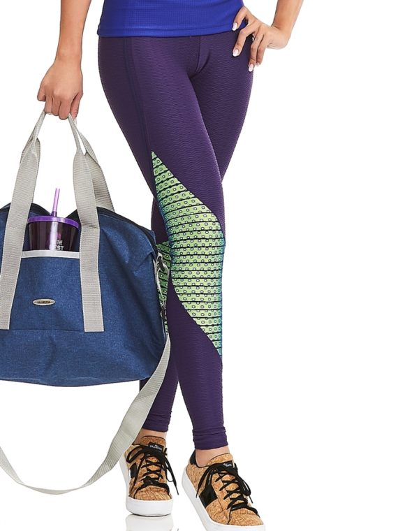 CAJUBRASIL Leggings 8145 Eggplant Neon Green Sexy Leggings Brazilian