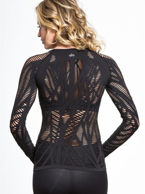 ALO Yoga Wanderer Long Sleeve Top -Sexy Yoga Tops Black