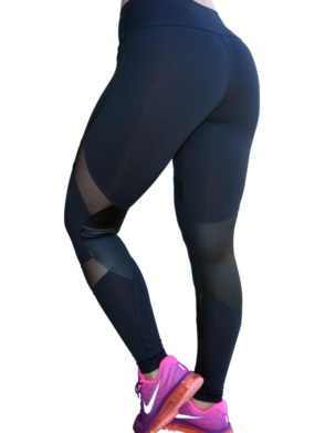 OXYFIT Leggings 14441 Soft BK- Sexy Workout Leggings Cutout Mesh Panels
