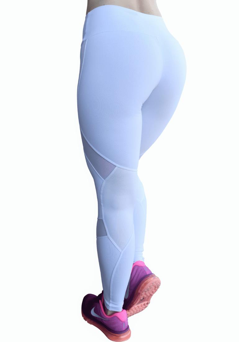 OXYFIT Leggings 14441 Soft WH- Sexy Workout Leggings Cutout Mesh Panels