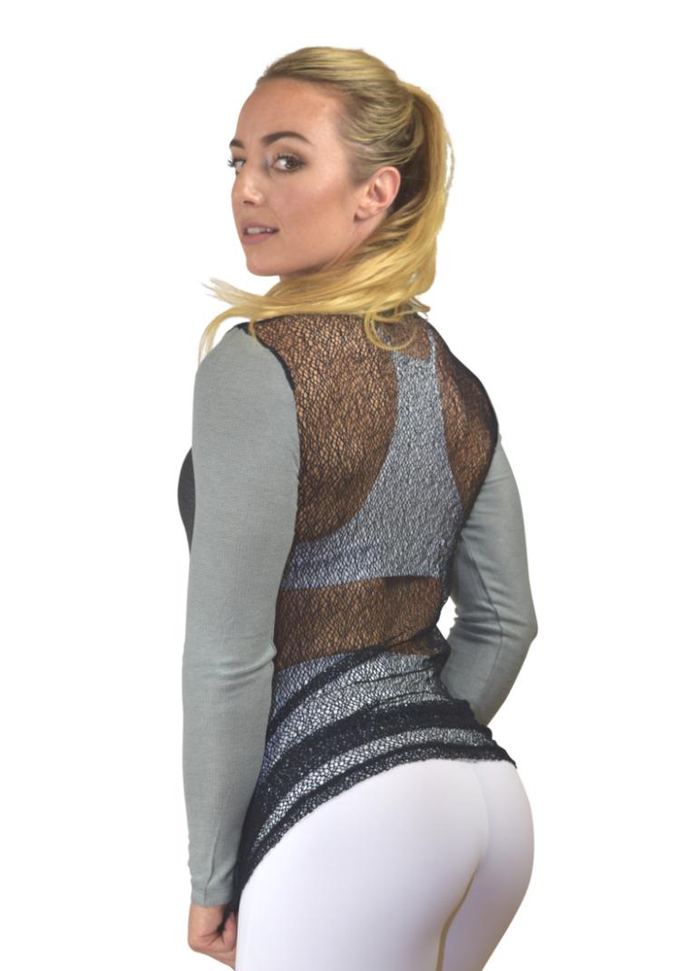 CAJUBRASIL Long Sleeve Shirt 9045 La Belle-Sexy Workout Top-Yoga Top Charcoal
