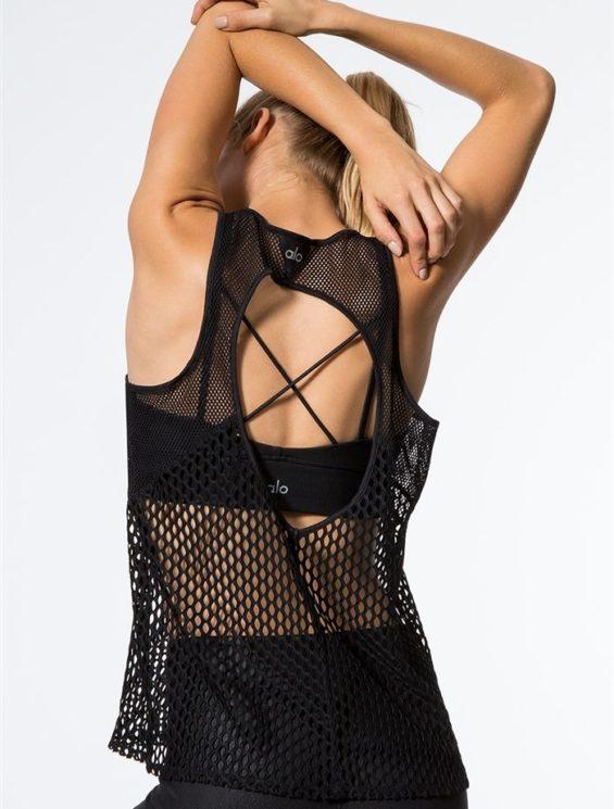 ALO Yoga Net Tank Top -Sexy Yoga Tops Black