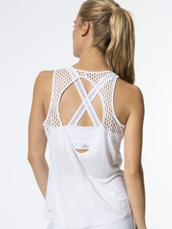 ALO Yoga Net Tank Top -Sexy Yoga Tops white