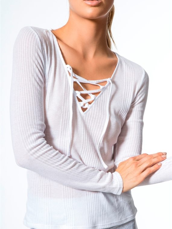 ALO Yoga Interlace Long Sleeve Top – Sexy Yoga Top – white