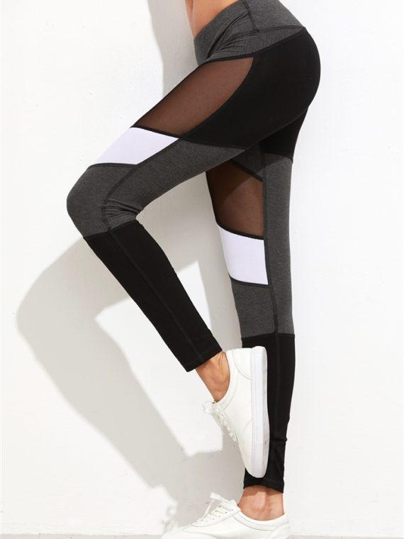 063dd89dbfeb7 ECO Color Block Mesh Insert Leggings Yoga Pilates Leggings Black ...