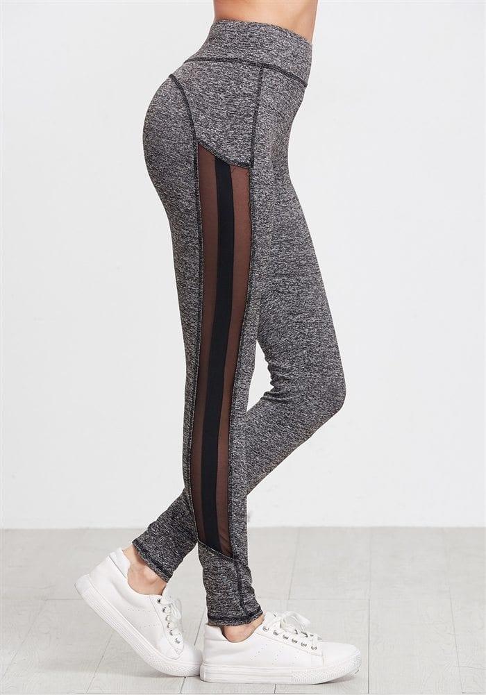 ECO Grey Marled Knit Mesh Leggings Yoga Pilates Leggings Black