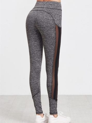 ECO Grey Marled Knit Mesh Leggings Yoga Pilates Leggings Black