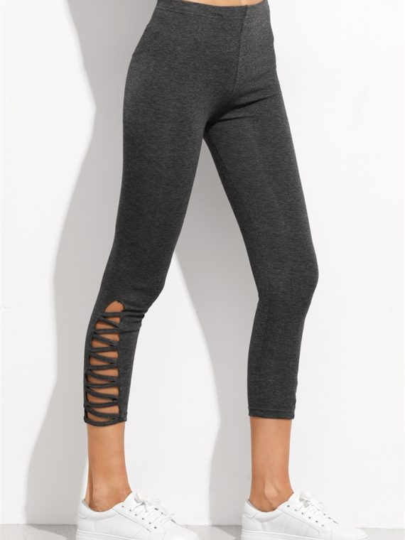 ECO Dark Grey Lattice Hem Leggings Yoga Pilates Leggings Black