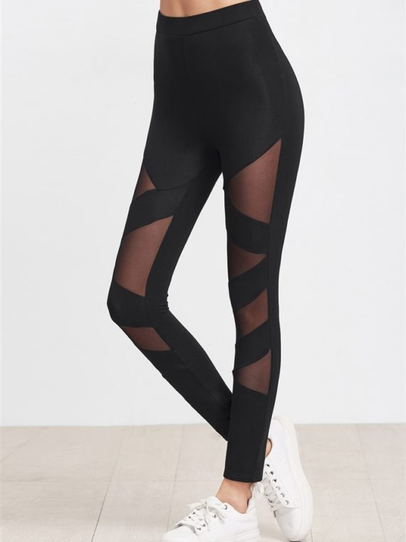 ECO Black Mesh Insert Striped Leggings Yoga Pilates Leggings Black