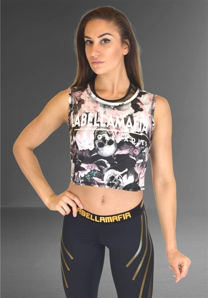 802554551 LABELLAMAFIA Crop Top FBL11811 Power Columbia Skull Top