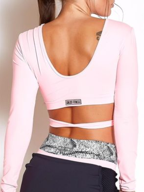 COLCCI FITNESS Long Sleeve Croppped Blusa 365700117 Pink