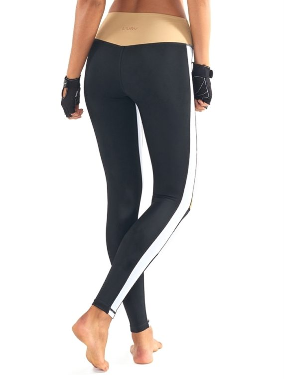 L'URV Leggings BURN IT UP Leggings Sexy Workout Tights Black White LG