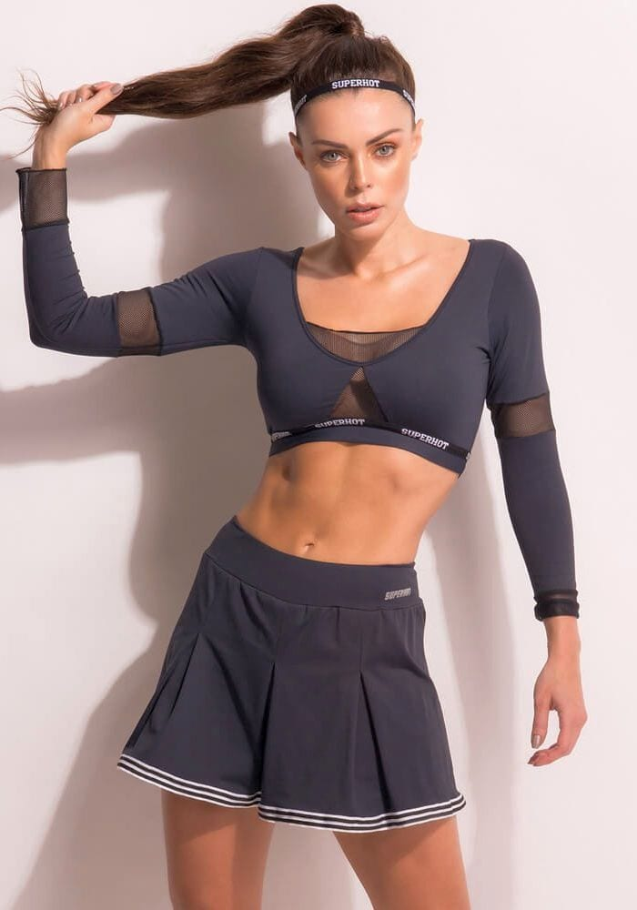 SUPERHOT Long Sleeve Crop Top BL1341 College Sexy Workout Top
