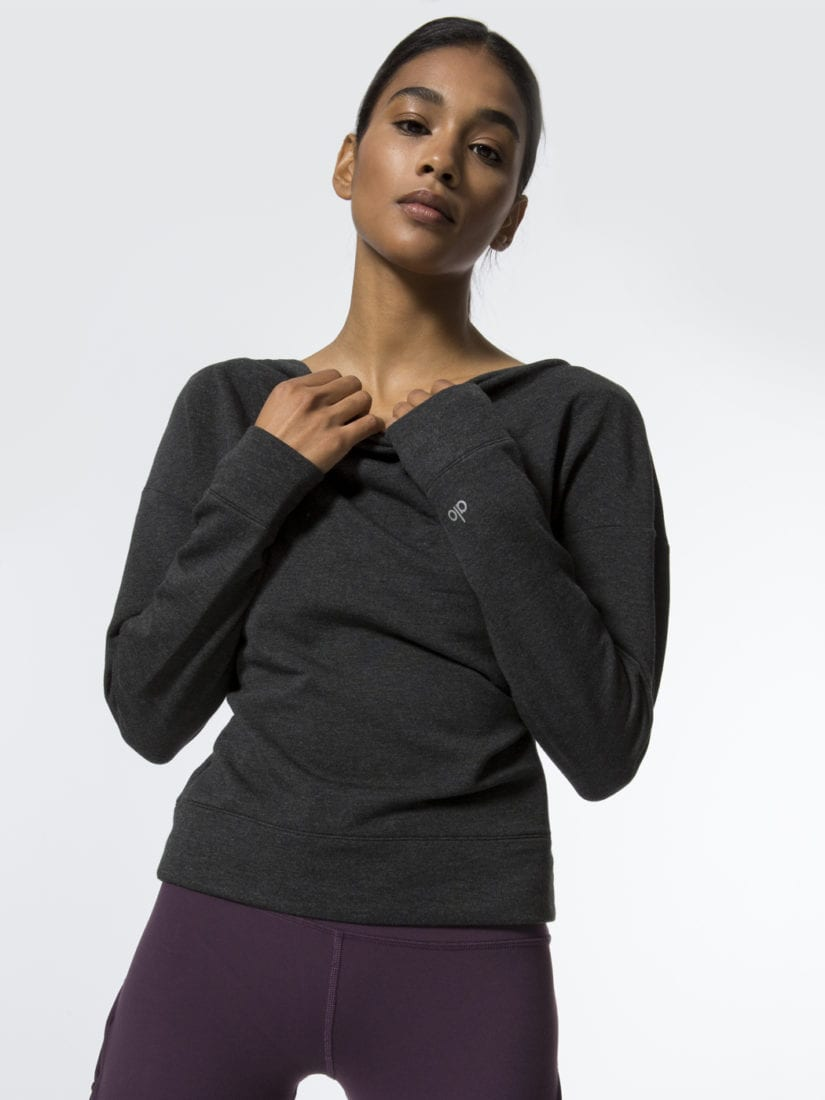 ALO Yoga Long Sleeve Top Uplift - Sexy Yoga Tops Charcoal Heather