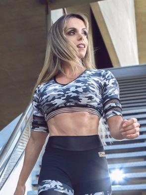 DYNAMITE BRAZIL Cropped Blouse Long Sleeve BL200 Gray Camo -Sexy Tops