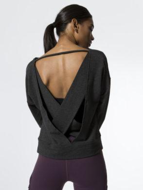ALO Yoga Long Sleeve Top Uplift – Sexy Yoga Tops Charcoal Heather
