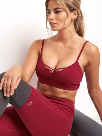 ALO Yoga Bra Interlace Bra -Sexy Workout Bra Tops Red Velvet