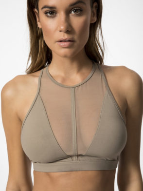 ALO Yoga Bra Empower Bra -Sexy Workout Bra Tops Black Gravel