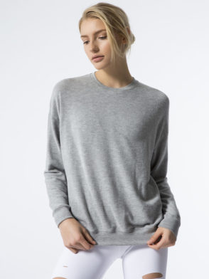 ALO Yoga Long Sleeve Soho Pullover – Sexy Yoga Tops Dove Grey