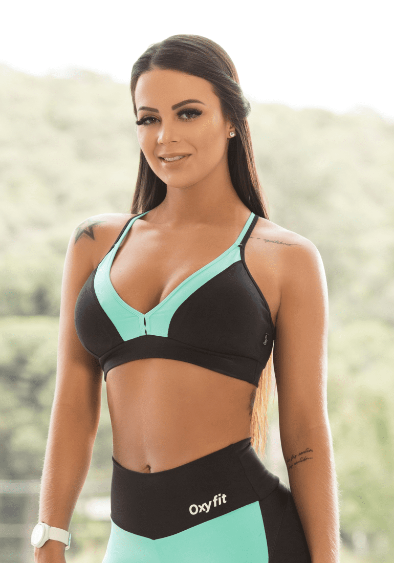 Oxyfit Bra Top Ease 27126 Black Mint Sexy Workout Bra Cute Yoga