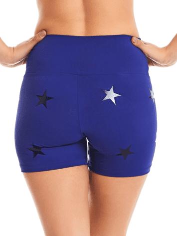 CAJUBRASIL Shorts 9604 Knockout Stars Blue- Sexy Yoga Shorts- Brazilian