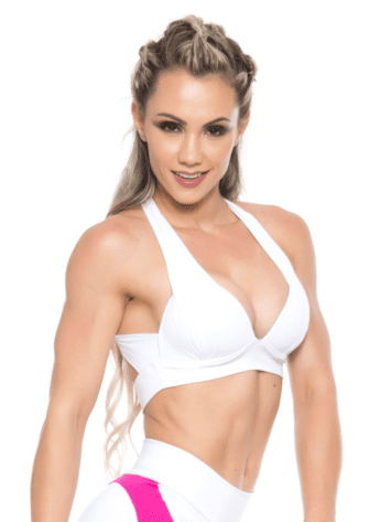 BOMBSHELL BRAZIL Sports Bra Bulge – White -Sexy Workout Top