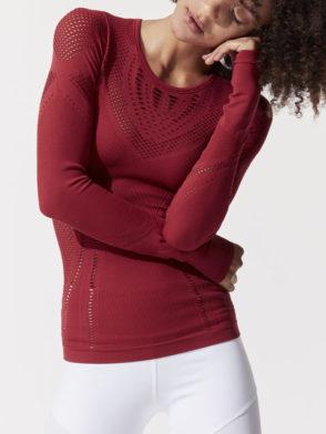 ALO Yoga Lark Long Sleeve Top -Sexy Yoga Tops Crimson