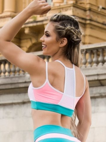 BOMBSHELL BRAZIL Sports Bra Top Fit Girl – White Teal -Sexy Workout Top