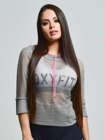 OXYFIT 3/4 Sleeve Mesh Hoody Top 46404 Fresh Gray- Sexy Workout Tops